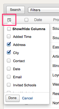 Show or hide columns