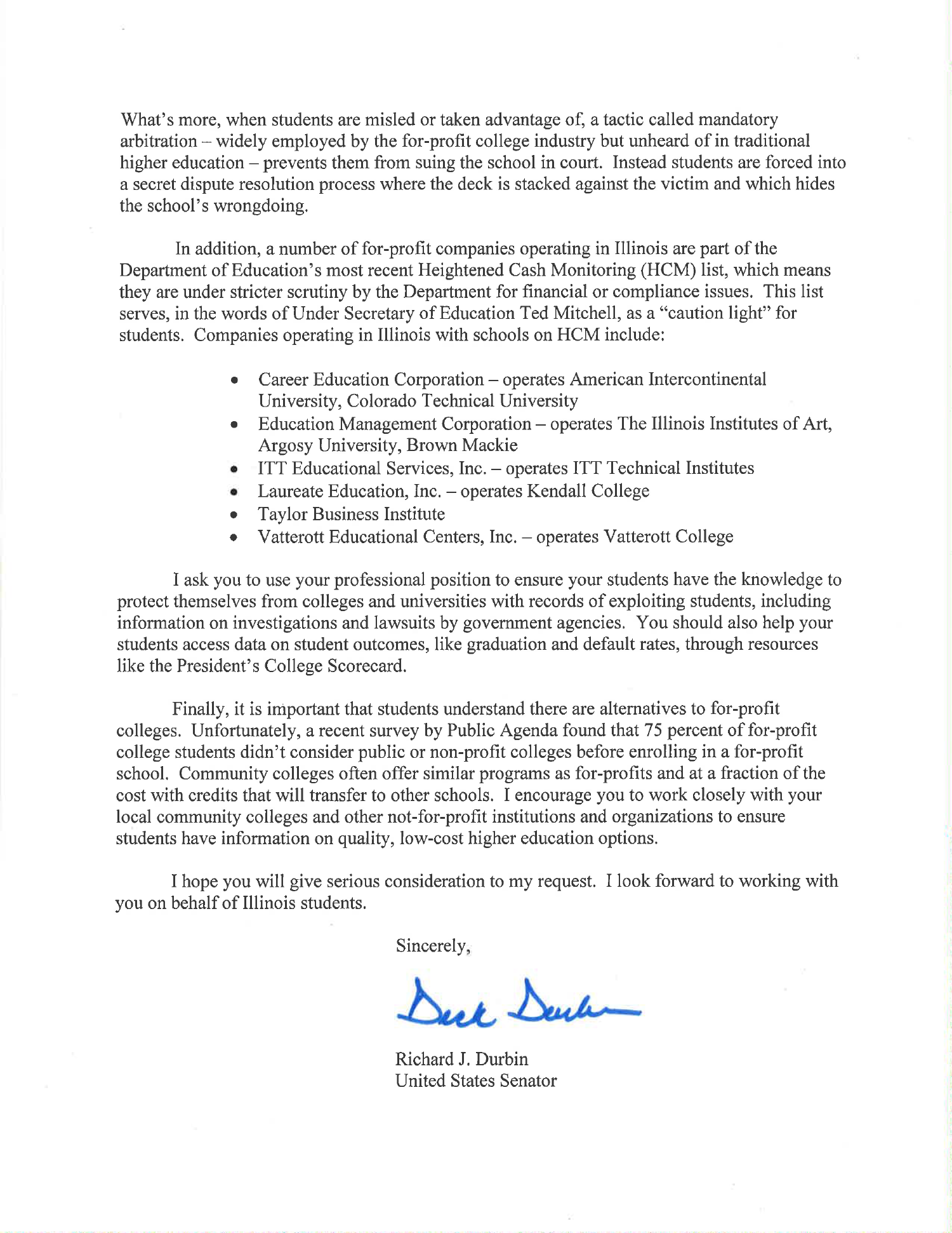 senator durbin s letter to counselors warning of predatory for senator durbin counselor letter for profit colleges 1500 2